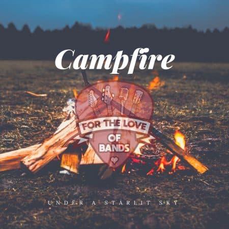 Campfire under a starlit sky